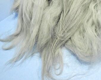 Icelandic Long Wool Locks Spinning Fiber Grey Gray Mix 2 oz for Hand Spun Art Yarn