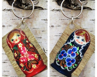 Matryoshka Keychain - Double-sided Metal