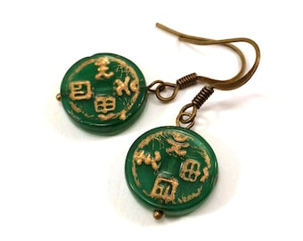 Green glass Chinoiserie earring