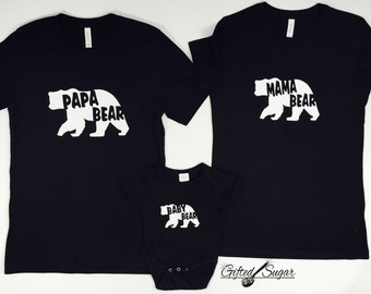 Mama Bear, Papa Bear, Baby Bear Family Set, Mommy and me, Daddy and me, Family Set,   Baby Shower, Baby Bear Onesie, Mother's Day Gift