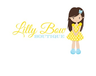 Sweet Brunette Girl Bow Logo - Hairbow Boutique Etsy Logo - Rebranding Design - Digital Logo - Girly Yellow Dress Bows Logo - JPG PNG