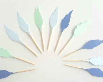 10 cupcakes (cupcake toppers) toppers - blue-green-festive Indian feather