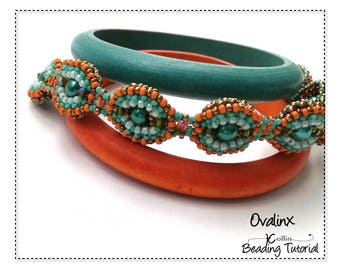 Right Angle Weave Reverseable Bracelet Beading Pattern RAW 2-Way Ovals Beading Instructions DIY Seed Bead Jewelry Beading Tutorial OVALINX