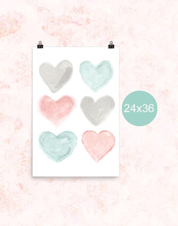 Teal and Blush Nursery Poster, 24x36