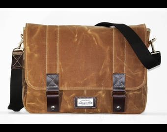 15 inch Waxed Canvas Messenger bag - handmade + leather accents 010029
