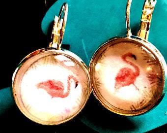 Pink Flamingo cabochon earrings- 16mm