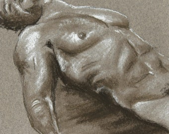 Original nude, naked man with pastel, nude art sketch, masculine study, black and white