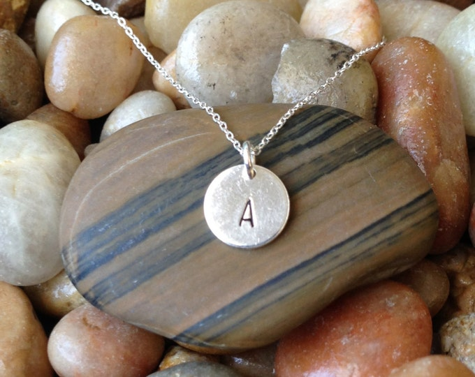 Tiny Monogram Necklace, Initial Necklace, Sterling Silver Round Charm