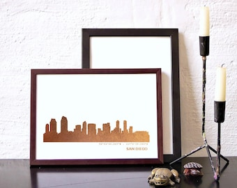 Rose-gold SAN DIEGO artwork, art print San Diego, San Diego skyline poster, honeymoon San Diego, custom pinkgold poster, home office decor