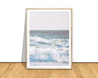 Beach Waves Print, Ocean Photography Wall Art, Large Wall Art Prints Printable Download, Coastal Home Decor, Beach Pink Blue Pastel, occp