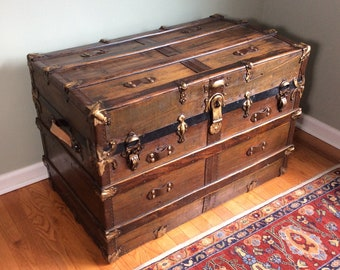 Beautifully Restored Extra Large Antique Steamer Trunk / Coffee Table/ Side Table / Bed Side Table
