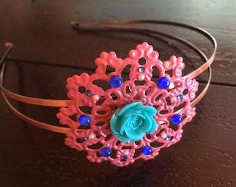Coral and Copper Headband