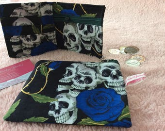 Skull and Blue Roses fabric cosmetic pouch