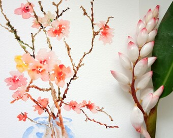 Cherry Blossoms Watercolor, Fine Art Print 8x10, Watercolor Flowers