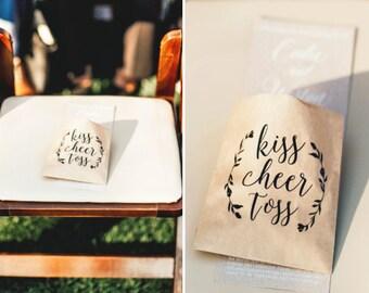 Wedding Petal Toss Bag - Kraft Paper Favor Bags - Kiss Cheer Toss - Fill with your own Rose and Flower Petals - 20 pack