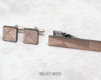 Geometric Cufflink & Tie Clip set | 5th anniversary gift | Groomsmen Gift | Gifts for Him | Graduation Gift | Groom Gift | Gifts for Dad