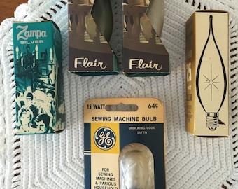 Vintage lightbulbs - fantastic lightbulbs in boxes - vintage appliance art - sewing machine bulb, candlelabra bulb - replacement bulbs