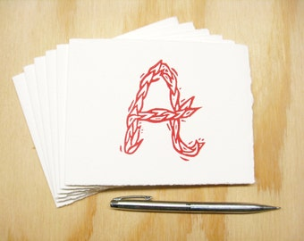 Letter A Stationery - Personalized Gift - Set of 6 Block Printed Cards