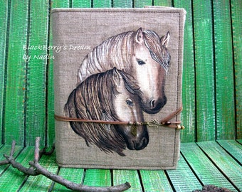 Memory album, Bohemian wedding, bohemian book, fabric book, Horses, Vintage wedding, Fotoalbum, Pair of horses, Mixedmedia album, Canvas