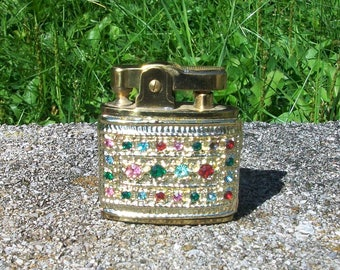 Vintage Star Lite Ornate Gem Stone Rhinestone Cigarette Lighter