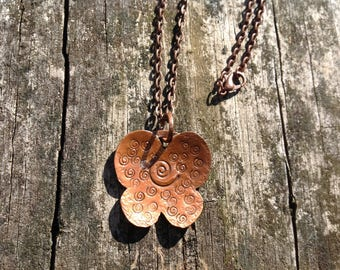 Copper Butterfly Pendant Necklace with Free Hand Spiral Design