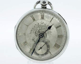 Sterling Silver Fusee Pocket Watch 1800s Hand Engraved