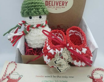 Baby first Christmas, December baby announcement,4 inch Snowman Included, Grandparent announcement,Baby Announcement,Pregnancy announcement