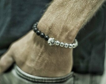 Men's Beaded Bracelet - Men's Strech Bracelet - Men's Bracelet - Men's Jewelry - Men's Gift - Husband Gift - Boyfriend Gift - Gemstone