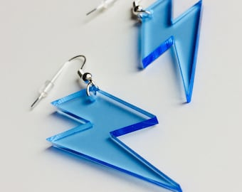 Lightning | Bowie | Lady Gaga | Bolt | Weather | 80s | Neon | Laser Cut | Acrylic | Earrings