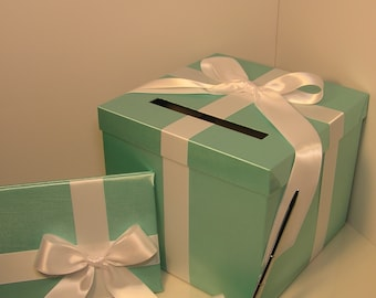 Wedding Card Box,3 Sets, 1 tier Mint Green/Spa Blue Card Box  Guest book and Pen/Pen Holder .Gift Card Box Holder-Customize your color