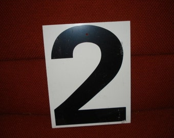 Vintage Double Sided Metal Sign Number 1 and 2