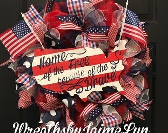 Patriotic Wreath, Fourth of July Wreath, USA Wreath, Summer Wreath, Front Door Wreath, Memorial Day Wreath