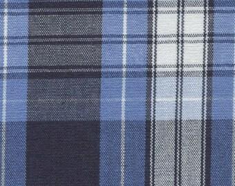 Sky Blue Navy White Plaid Cotton Drapery Apparel Crafting Uniform Fabric