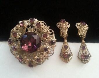 ON SALE Purple Rhinestone Demi Parure ** Vintage Brooch Pendant Earring Set ** 1930's  1940's Vintage Art Deco Jewelry