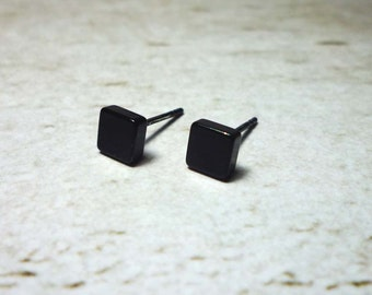 Black Square Stud Earrings 5mm, Dainty Square Earrings, Square Stud Earrings