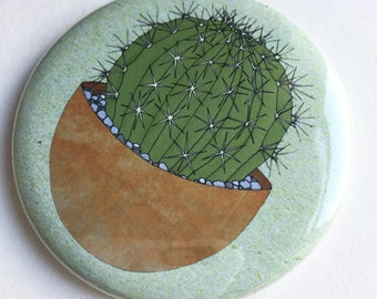 cactus pocket mirror - illustrated cacti compact mirror - plant print gift - handbag mirror / cactus gift / houseplant gift / pot plant gift