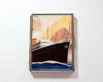 Slim étui à cigarettes, étui à cigarettes, bateau de croisière, paquebot, boîte de cigarettes, Design rétro, étui à cigarettes, Art déco, la mer Adriatique (7312S)