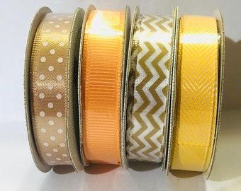 Orange ribbon, ribbon set, tan ribbon, tan polkadot ribbon, yellow zig zag ribbon, ribbon set, tan chevron ribbon