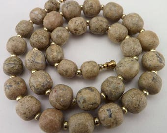 vintage jewelry, 80s vintage necklace, beaded necklace, faux agate necklace, bead strand necklace, earth tone necklace, faux stone strand