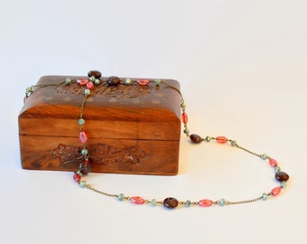 Delicate green red crystal and brown flowered stone long necklace