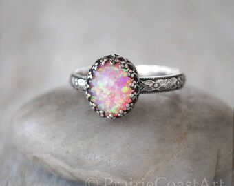 Oval Pink Opal Ring in Sterling Silver - Handcrafted Artisan Ring  -  Pink Opal Ring - Sterling Pink Ring October Birthstone