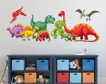 Attractive Dinosaurs Wall Decal   KIds Boys Bedroom Wall Art   Cute Dinosaurs Nursery Wall  Decal   Dinosaur Themed Vinyl Wall Sticker