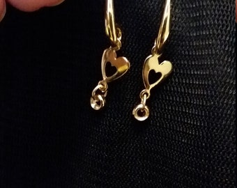 Gold Heart and pl Dangle Earrings