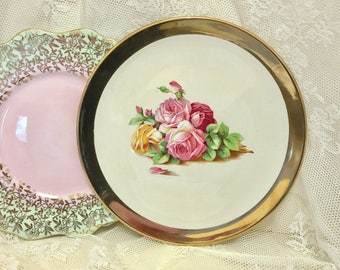 Large Royal Winton Grimwades Gold rimmed and floral plate