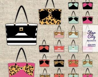 Tote Bag clipart, Handbag clipart, purse clipart, bow bag clipart, fashion clipart, clipart, vector art, vector graphics, instant download