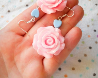 Rose Earrings, Big Flower Earrings, Big Rose Earrings, Flower Earrings, Pink Rose, Pink Flower, Earrings, Lolita, Pop Kei, Kawaii