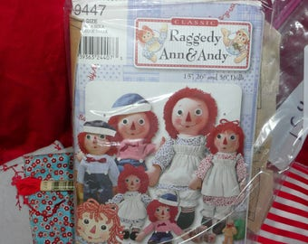 """Simplicity Pattern 9447, Classic Raggedy Ann and Andy, 15"""", 26"""", 36"""" with Fabric"""