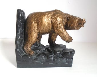 Vintage Solid Plaster Grizzly Bear Bookend by Austin Products