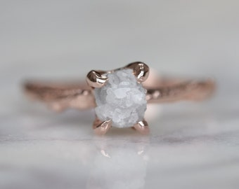 1.31 Carat Raw Diamond Engagement Ring with 14k Rose Gold Branch Band