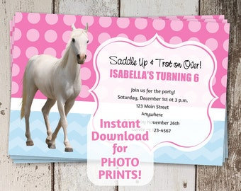 Horse Birthday Party Invitation - Instant digital file download - Get photo prints / printable on card stock - Girls Pony Horseback Riding